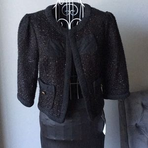 Sz S Aqua Cropped Black Shimmer Jacker